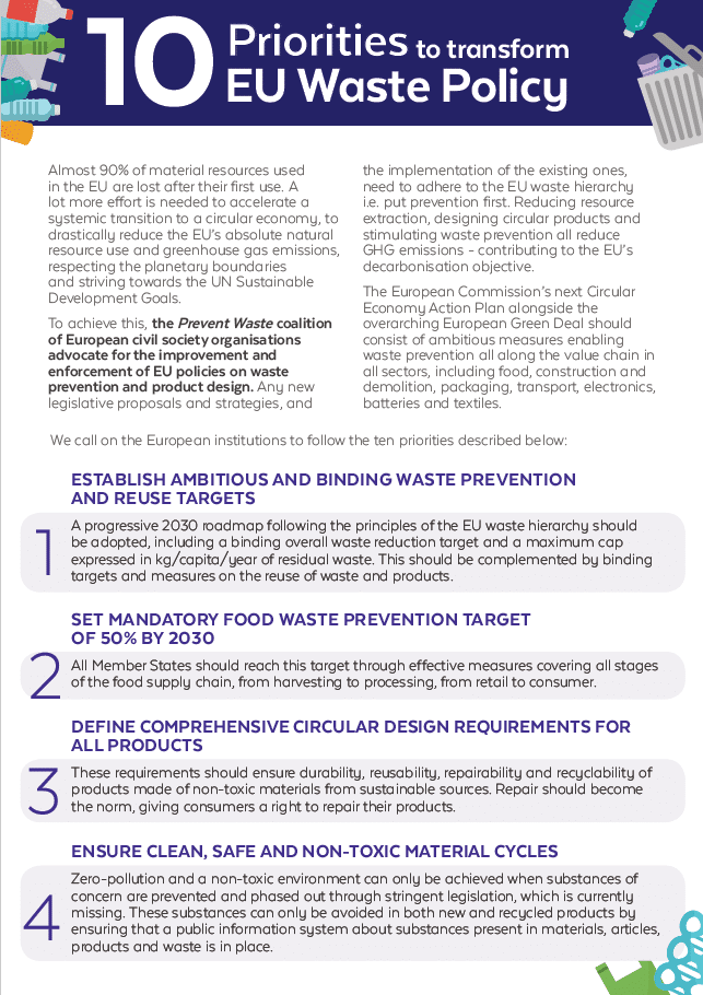 10 Priorities to Transform EU Waste Policy